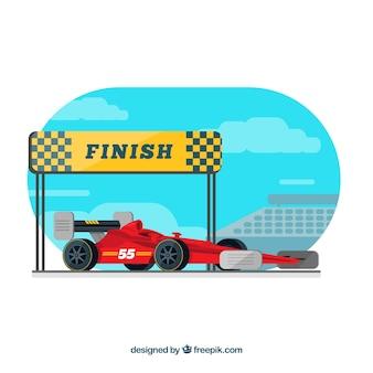 Coche de carreras fórmula 1 en la línea de meta