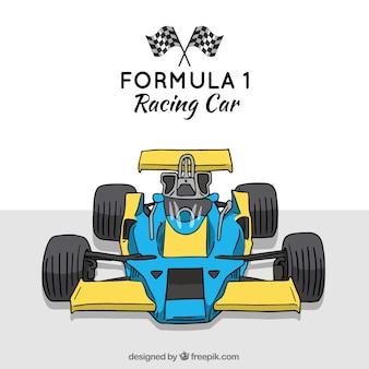 Coche de carreras de formula 1 moderno dibujado a mano