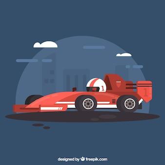 Coche de carreras de fórmula 1 moderno con diseño plano