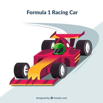 Coche de carreras de formula 1 moderno con diseño plano