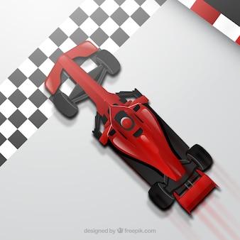 Coche de carreras de fórmula 1 realista en la línea de meta