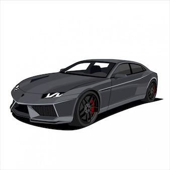 Coche de carreras gris, ilustración de coche deportivo