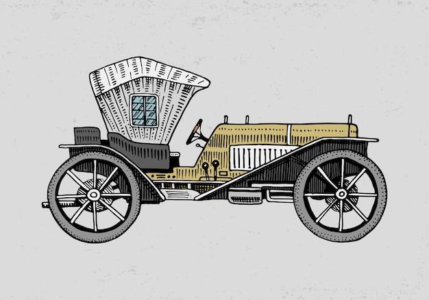 Coche clásico, máquina o ilustración del motor. grabado dibujado a mano en estilo antiguo boceto, transporte vintage.
