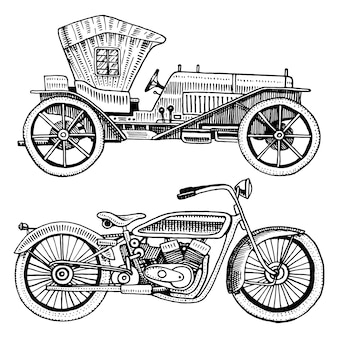 Coche clásico, máquina o motor y motocicleta o moto ilustración. grabado dibujado a mano en estilo antiguo boceto, transporte vintage.