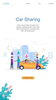 Coche compartido banner vertical y moderno diseño de servicio de coche compartido en línea