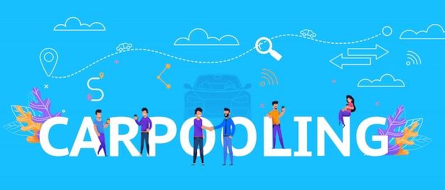 Coche compartido ilustración concepto viaje colaboración