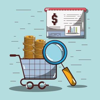 Coche de compras con monedas y documentos estadísticos y lupa