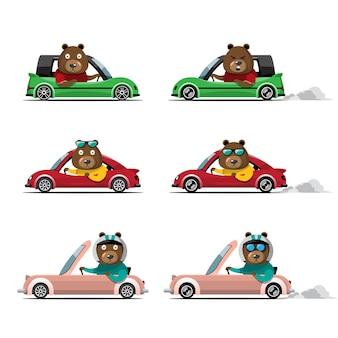 Coche de conducción animal lindo de dibujos animados en la carretera