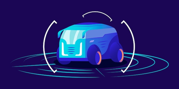 Coche sin conductor color plano. transporte autónomo futurista, furgoneta autónoma enmarcada sobre fondo azul. interfaz del sistema de detección de transporte inteligente, concepto de sala de exposición virtual