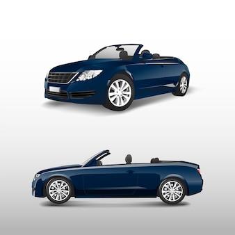 Coche convertible azul aislado en vector blanco