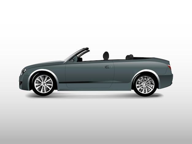 Coche convertible gris aislado en vector blanco