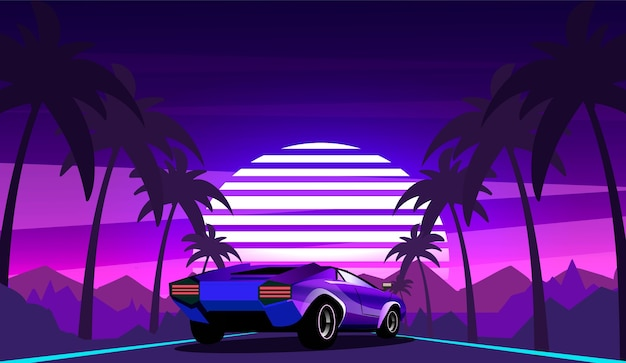 Coche deportivo púrpura en el fondo de un paisaje de olas retro con palmeras a lo largo de la carretera. ilustración de vector al estilo de los años 80.
