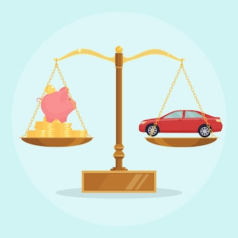 Coche y dinero en balanza escalas ilustración