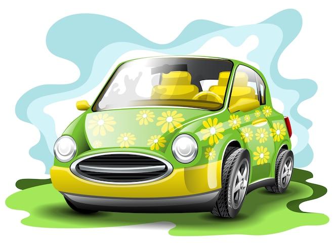 Coche divertido verde y amarillo.