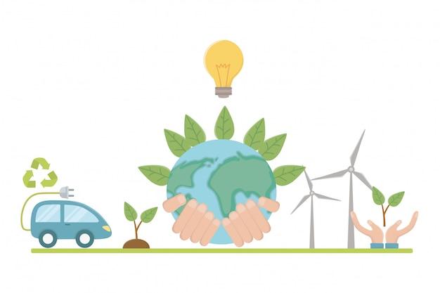 Coche ecológico y diseño de ahorro de planeta.