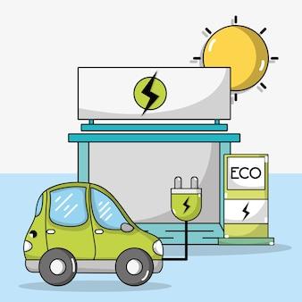 Coche eléctrico con cable de alimentación y estación de recarga