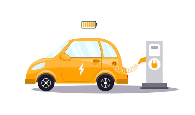 Un coche eléctrico se carga desde una estación de carga de vehículos eléctricos concepto de medio ambiente verde