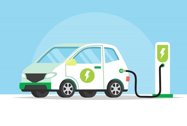 Coche eléctrico cargando su batería, ilustración del concepto para el medio ambiente verde
