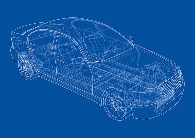 Coche eléctrico con chasis. batería, suspensión y tracción a las ruedas. representación de 3d. estilo de marco de alambre