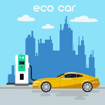 Coche eléctrico. coche ecológico en la estación de carga. energía verde. vehículo eléctrico. ilustración vectorial