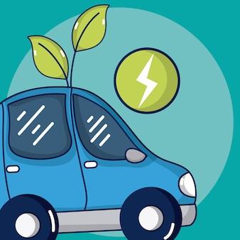 Coche eléctrico con símbolo de ray y planta
