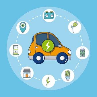 Coche eléctrico con símbolos redondos de energía verde