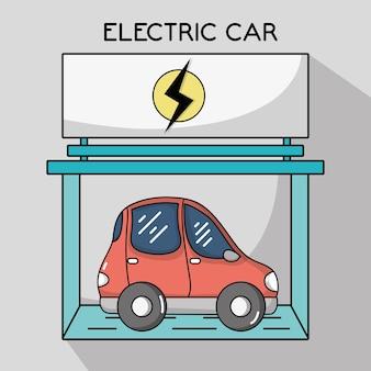Coche eléctrico con la estación de la batería de recarga