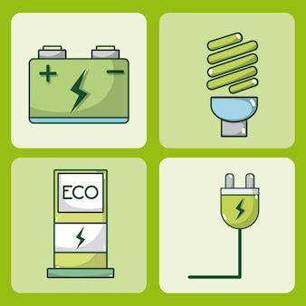 Coche eléctrico y energía verde conjunto de marcos cuadrados