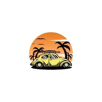 Coche escarabajo puesta de sol logo diseño vectorial