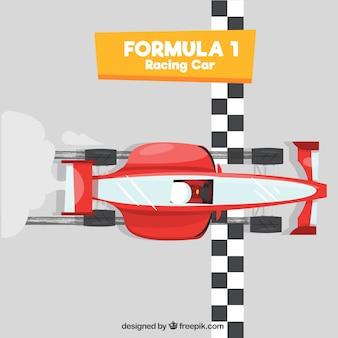 Coche de formula 1 pasando línea de meta