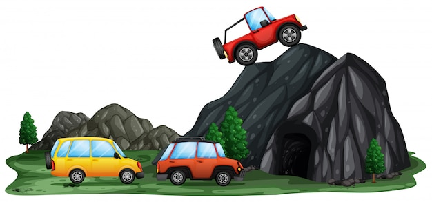 Coche fuera de carretera en la montaña