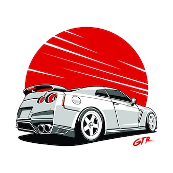 Coche, horizonte, gtr., coche, deporte, illustrasion