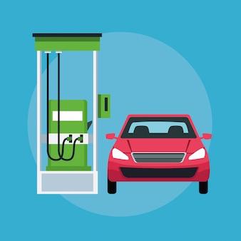 Coche en un icono de gasolinera