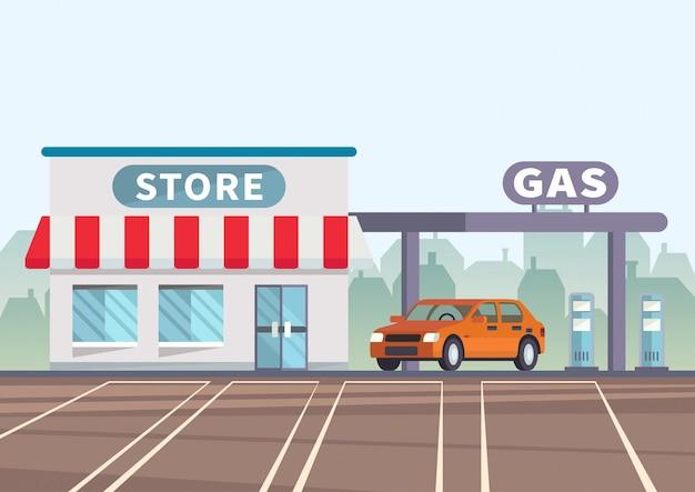 El coche de ilustración de dibujos animados está en la estación de servicio