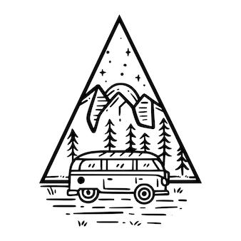 Coche en insignia de la naturaleza vector premium