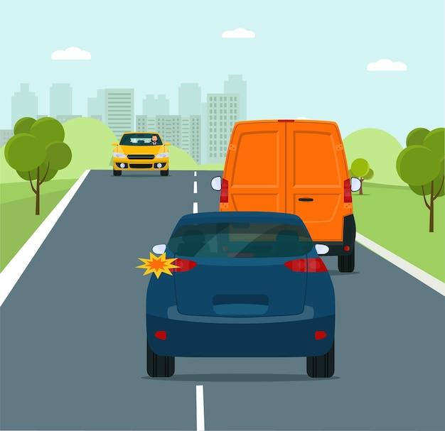 Coche con la intención de adelantar en una ilustración de estilo plano de carretera suburbana