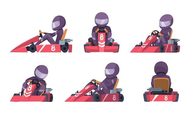 Coche de karting corredores de velocidad de la calle competencia deporte automóvil go kart cartoon