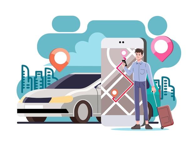 Coche en línea, pedir un coche de transporte con un teléfono inteligente.