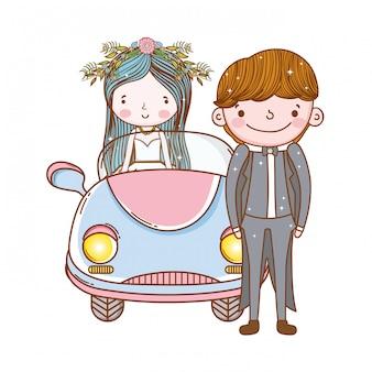 Coche pareja matrimonio linda caricatura