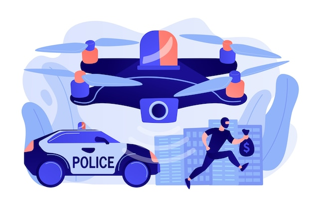 Coche de policía y drone rastreando ladrón en máscara con dinero y escena del crimen