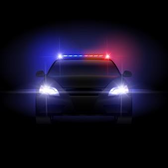 Coche de policía del sheriff en la noche con luz intermitente