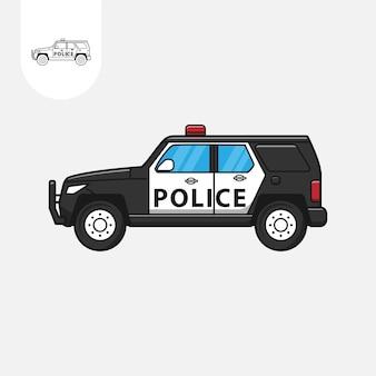 Coche de policía sobre fondo blanco dibujos animados de coche de policía