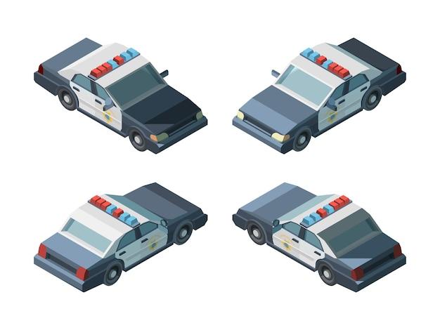 Coche de policía. vehículos isométricos de emergencia diferentes vistas policía persecución vector. transporte coche de policía de emergencia, vehículo isométrico e ilustración de automóvil 3d
