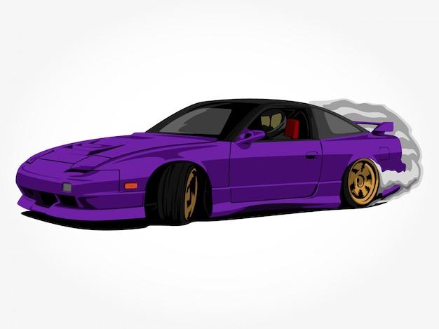 Coche púrpura personalizado en acción arte de ilustración vectorial