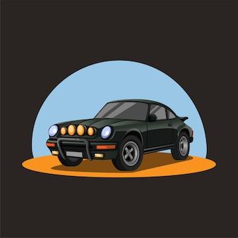 Coche de rally retro en arena. coche sedán de carreras de color verde oscuro con concepto de faro nocturno en la ilustración de dibujos animados