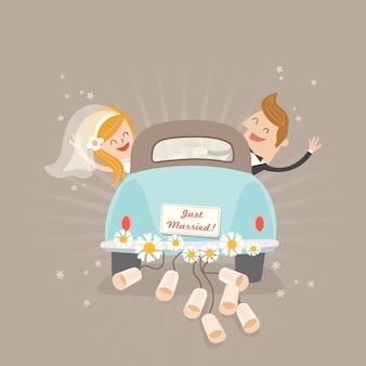 Coche de recién casados en estilo de dibujos animados