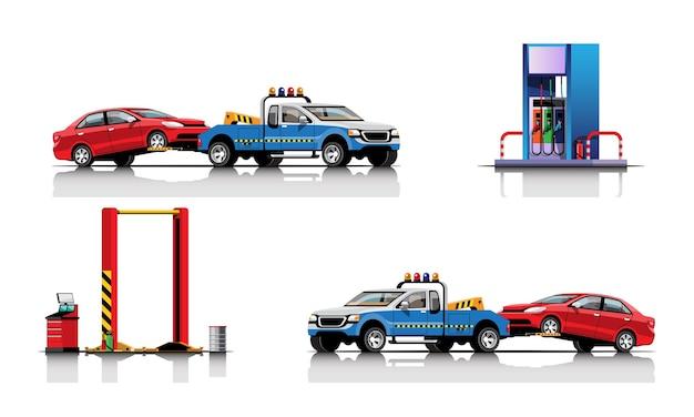 Coche de remolque con automóvil en el conjunto de la estación de aceite