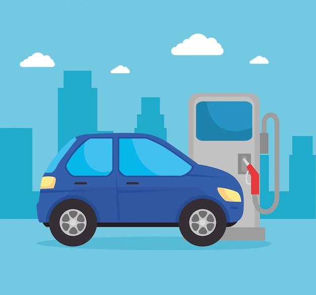 Coche en repostaje con combustible de aceite, vehículo sedán en la estación de combustible