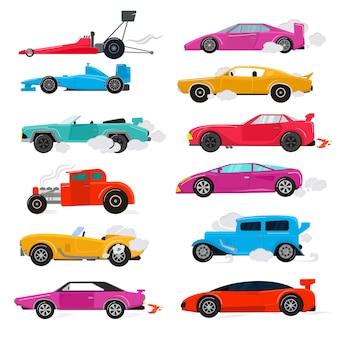 Coche retro lujo auto transporte racing car y vintage art deco automóvil moderno conjunto de ilustración del antiguo automóvil aislado citycar en ilustración de fondo blanco