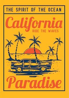 Coche retro en el paraíso de la playa de verano con palmera tropical y puesta de sol en la ilustración de vector retro de los años 80